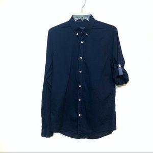 Zara Mens button up shirt roll tab sleeves blue